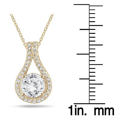 1 1/5 Carat TW Diamond Halo Loop Pendant in 10K Yellow Gold