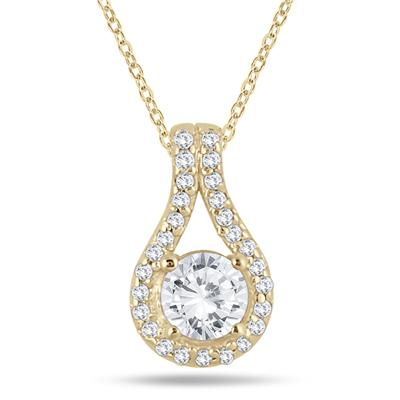 3/5 Carat TW Diamond Halo Pendant in 10K Yellow Gold