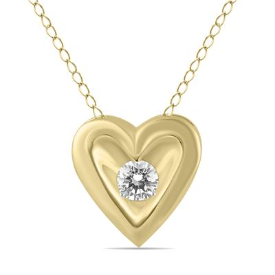 1/4 Carat Diamond Heart Solitaire Pendant in 10K Yellow Gold