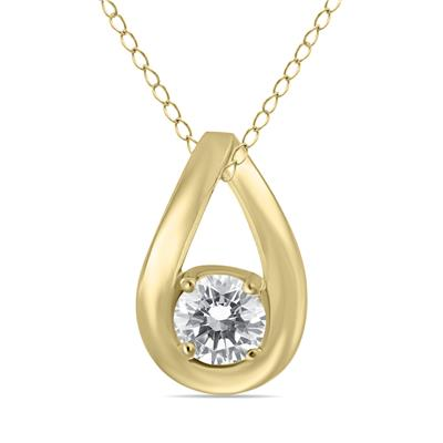 1/2 Carat Tear Drop Diamond Solitaire Pendant in 10K Yellow Gold