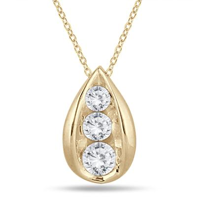 1/2 Carat TW Three Stone Diamond Tear Drop Pendant in 14K Yellow Gold