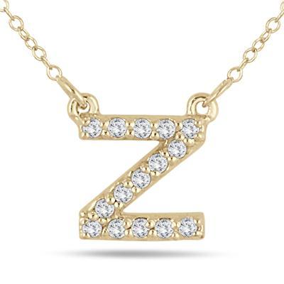 1/10 Carat TW Z Initial Diamond Pendant in 10K Yellow Gold