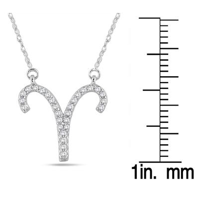1/5 Carat TW Diamond Aries Zodiac Pendant 10K White Gold