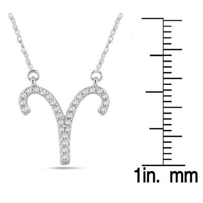 1/5 Carat TW Diamond Aries Zodiac Pendant 10K White Gold