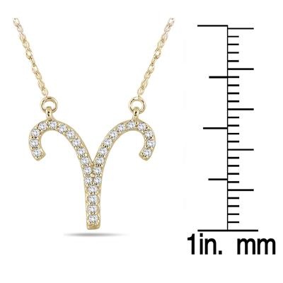 1/5 Carat TW Diamond Aries Zodiac Pendant 10K Yellow Gold