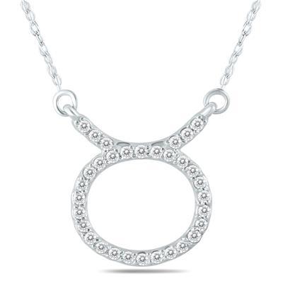 1/4 Carat TW Diamond Taurus Zodiac Pendant 10K White Gold