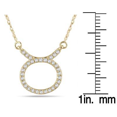 1/4 Carat TW Diamond Taurus Zodiac Pendant 10K Yellow Gold