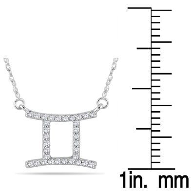 1/4 Carat TW Diamond Gemini Zodiac Pendant 10K White Gold