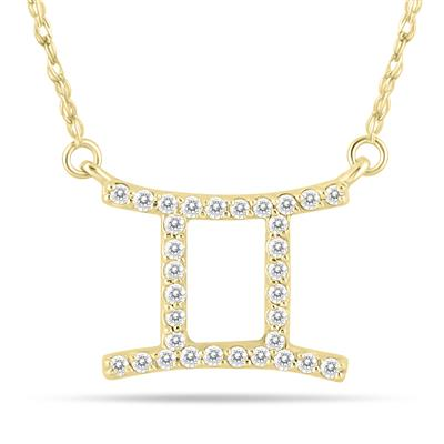 1/4 Carat TW Diamond Gemini Zodiac Pendant 10K Yellow Gold