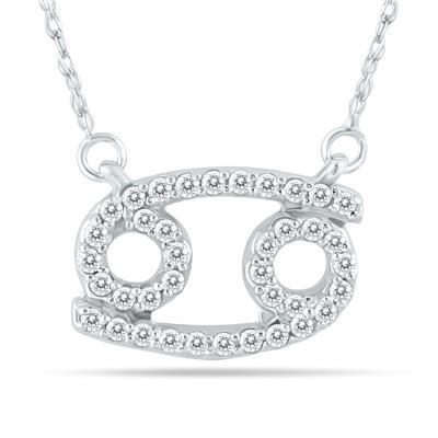 1/3 Carat TW Diamond Cancer Zodiac Pendant 10K White Gold