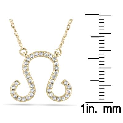 1/4 Carat TW Diamond Leo Zodiac Pendant 10K Yellow Gold