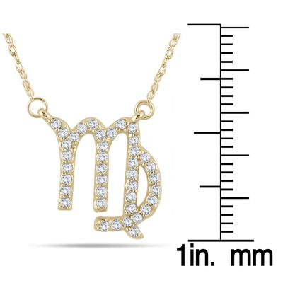 1/3 Carat TW  Diamond Virgo Zodiac Pendant 10K Yellow Gold