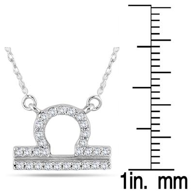 1/5 Carat TW Diamond Libra Zodiac Pendant 10K White Gold