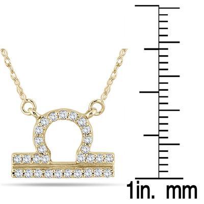 1/5 Carat TW Diamond Libra Zodiac Pendant 10K Yellow Gold