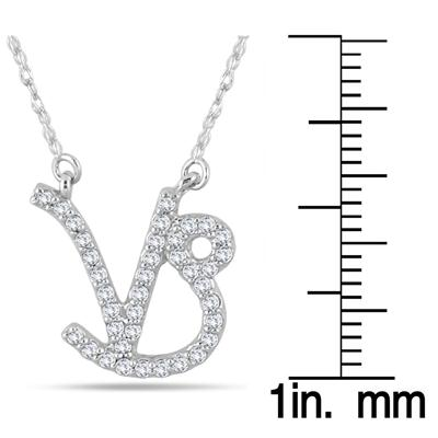 1/3 Carat TW Diamond Capricorn Zodiac Pendant 10K White Gold