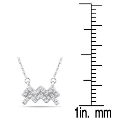 1/5 Carat TW Diamond Aquarius Zodiac Pendant 10K White Gold