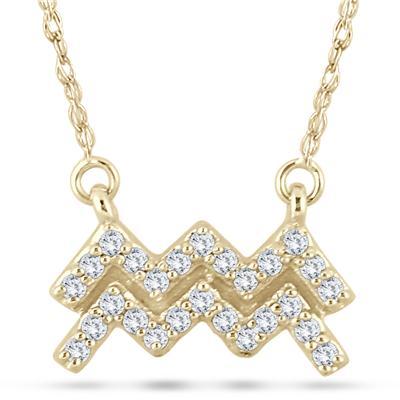 1/5 Carat TW Diamond Aquarius Zodiac Pendant 10K Yellow Gold