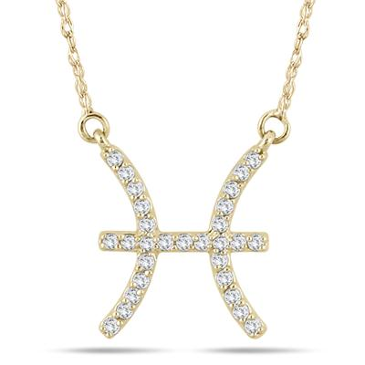 1/5 Carat TW Diamond Pisces Zodiac Pendant 10K Yellow Gold