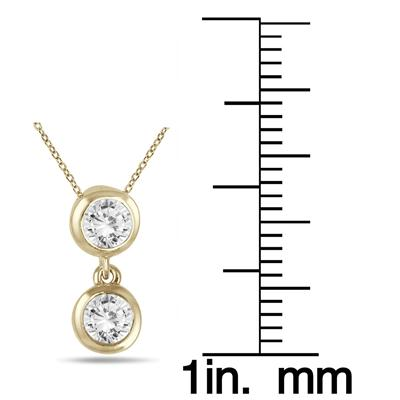 1/2 Carat TW Two Stone Diamond Pendant in 14K Yellow Gold