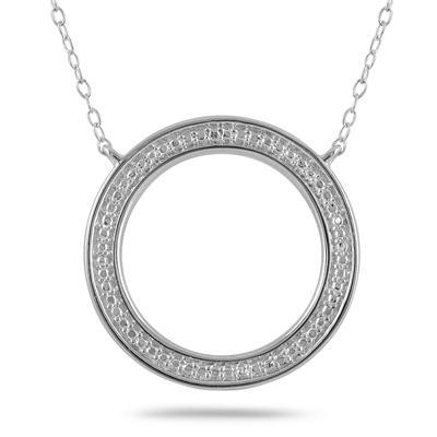 Diamond Circle Pendant in .925 Sterling Silver