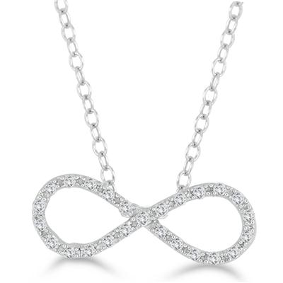 1/7 Carat Diamond Infinity Pendant in .925 Sterling Silver