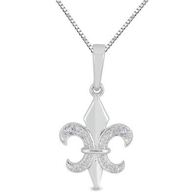 Fleur De Lis Diamond Accent Pendant in .925 Sterling Silver