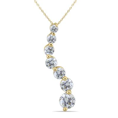 1 Carat TW Diamond Journey Pendant in 14K Yellow Gold