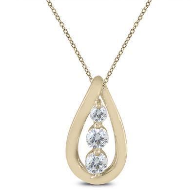 1/4 Carat TW Diamond Three Stone Pendant in 10K Yellow Gold