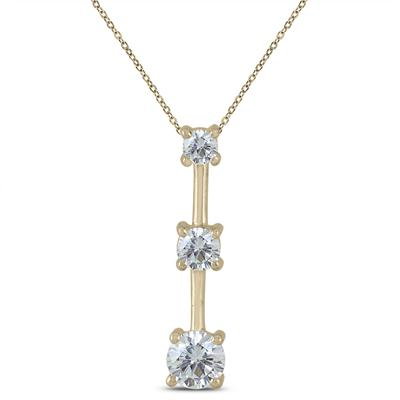 3/4 Carat TW Diamond Three Stone Pendant in 10K Yellow Gold