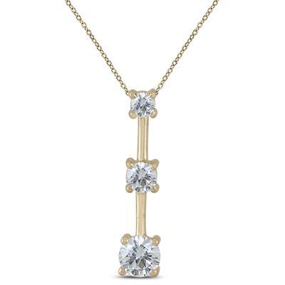 3/4 Carat TW Diamond Three Stone Pendant in 10K Yellow Gold