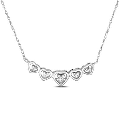 Diamond Heart Link Necklace in 10K White Gold