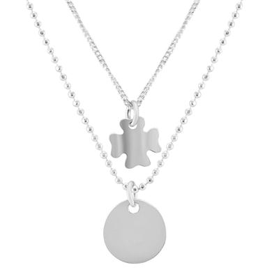 Four Leaf Clover and Tag Double Chain Necklace in .925 Sterling Silver