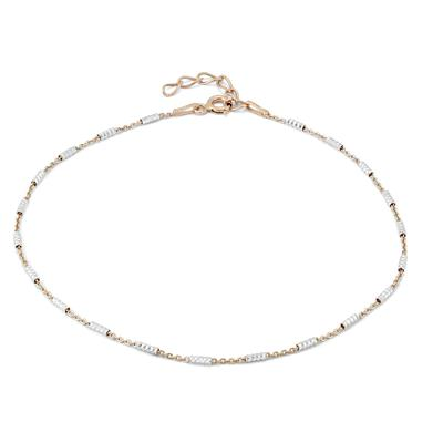 Two Tone Beaded Anklet in .925 Sterling Silver