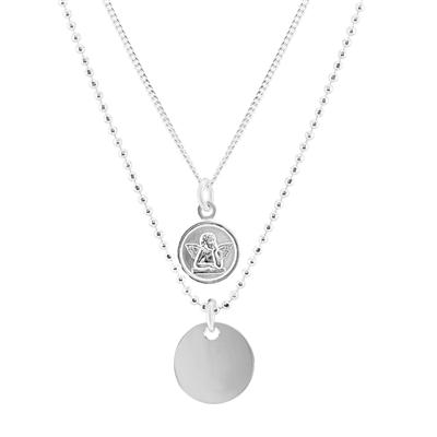 Angel Disc Double Chain Necklace in .925 Sterling Silver