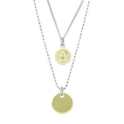 Double Chain Angel Disk Necklace in .925 Sterling Silver