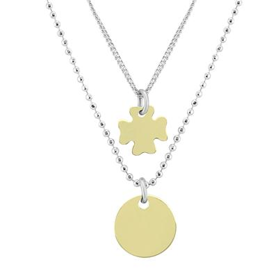 Disc and Four Leaf Clover Double Chain Necklace in .925 Sterling Silver
