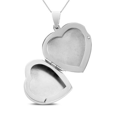 Engraved Heart Locket Pendant in .925 Sterling Silver