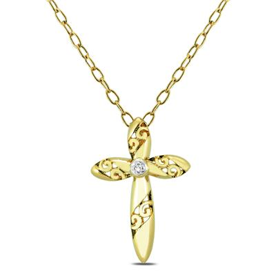 Engraved Diamond Cross Pendant in .925 Sterling Silver