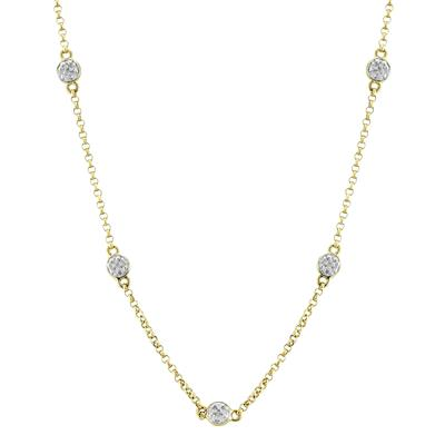 Adjustable Length Diamond Station Chain Necklace in .925 Sterling Silver