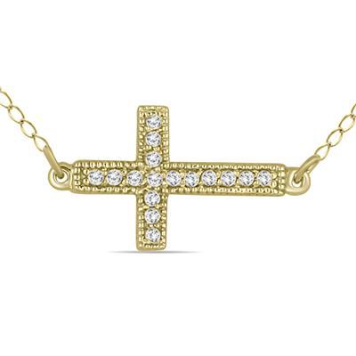 1/8 Carat TW Diamond Cross Pendant in 10k Yellow Gold