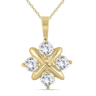 1 Carat TW Diamond Snowflake Pendant in 10K Yellow Gold