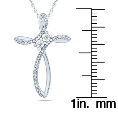 1/5 Carat TW Diamond Cross Pendant in 10K White Gold