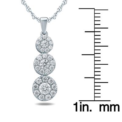 1/2 Carat TW Diamond Three Stone Pendant in 10K White Gold