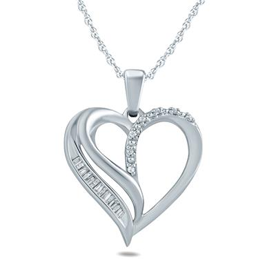 34abf614f HEART PENDANTS. SAVE 65%. Baguette and Round Diamond Heart Pendant ...