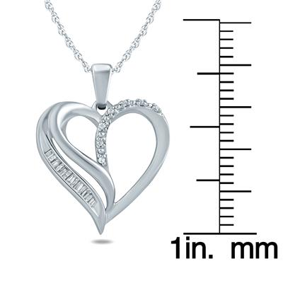 Baguette and Round Diamond Heart  Pendant in 10K White Gold