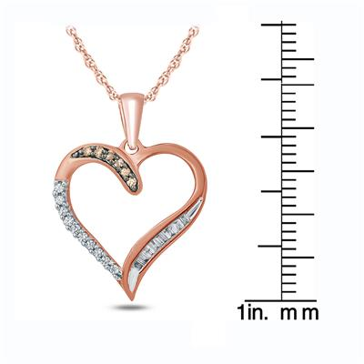 1/10 Carat TW Brown And White Diamond Heart Pendnat in 10K Rose Gold