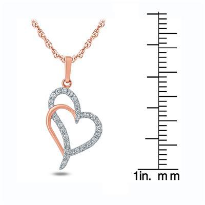 1/6 Carat TW Diamond Double Heart Pendant in 10K Rose Gold