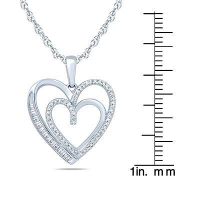 1/5 Carat TW Baguette and Round Diamond Heart Pendant in 10K White Gold