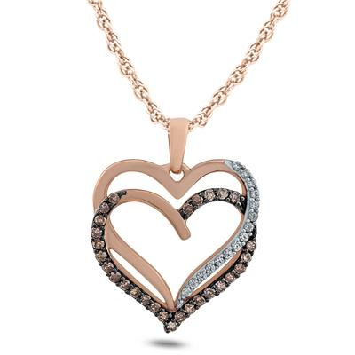 1/10 Carat TW Brown And White Diamond Heart Link Pendnat in 10K Rose Gold