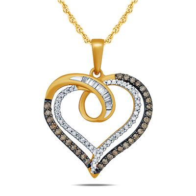 3/4 Carat TW Brown And White Diamond Double Heart Pendnat in 10K Yellow Gold
